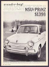 "1960 NSU Prinz Sedan photo ""Wunder-Buy"" 50 MPG vintage promo print ad"