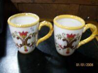 PAIR OF PIER 1 Large Coffee Cups Mug Tea ORALIA Hand Painted Earthenware