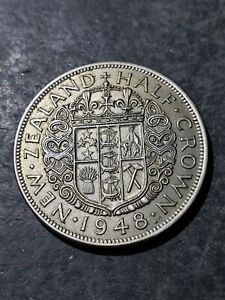 1948 NEW ZEALAND 1/2 CROWN COIN
