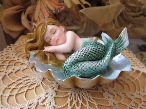 "Fairy Garden 4 1/2"" mermaid figurine sleeping in a shell NEW in Box"