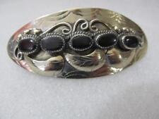 Vintage American Navajo Indian Silver(5) Five Onyx Hair Barrette