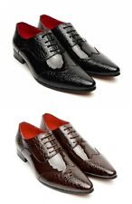 Calzado Para Hombres, Zapatos marrones, Brillante Puntiagudo Zapatos para fiesta, boda, oficina (Fellini