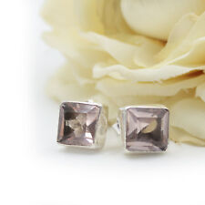 Rose Quartz Studs Genuine Silver 925 Square Earrings CUTSTONE Rectangular Pink