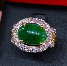 3.00TCW BURMESE Jadeite & Diamond 18K Solid Yellow gold ring Natural Engagement