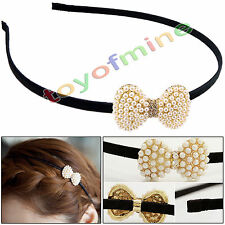 Korean Fashion lovely pearl hair accessories small bow hair band