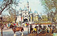 Disneyland Postcard Sleeping Beauty Castle & horse-drawn streetcar brown horse