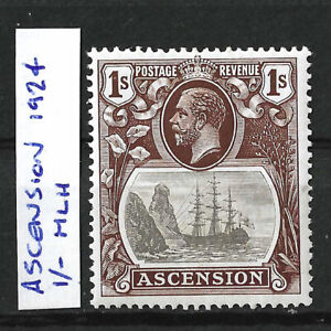 ASCENSION 1924 KGV 1/- BROWN MINT, MLH