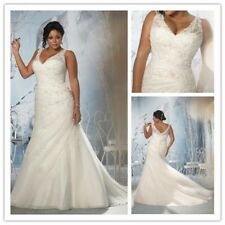 Plus Size White/Ivory Long Mermaid Wedding Dress V-Neck Lace Straps Bridal Gown