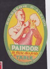 Ancienne étiquette Bière Alcool France BN35950 Brasserie d'Alslor Paindor Homme