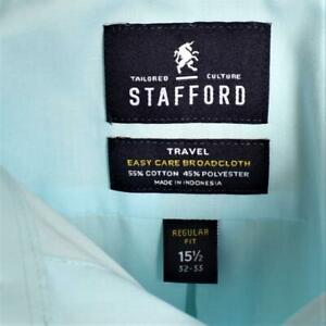 Stafford Men 15.5 32 33 Travel Super Shirt Regular Cotton Blend LS Buttons Aqua