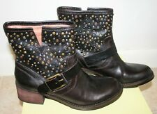 Lucky Brand Hidee 2 Studded Ankle Boots Dark Brown Leather Size 7.5 Womens Shoes