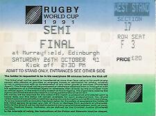 SCOTLAND v ENGLAND SEMI-FINAL RUGBY WORLD CUP 1991 TICKET