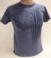 """Harley-Davidson Men's  Heather Blue """"Flag"""" Shirt Dealer Back Small"""