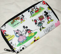 Disney Parks Mickey & Minnie Mouse Comic Print Collage Wallet White Zip Up - NEW