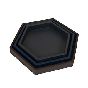 DFR Classic Leatherette Hexagonal Serving Tray - Set of 3