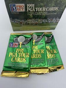 1991 Pro Set Golf PGA Tour Cards Opened Wax Box 36 Packs John Daly RC