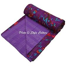 Indian Bed Cover Queen Cotton Printed Quilt Blanket Bird Kantha Quilts