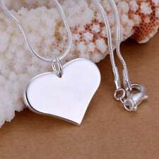Fashion 925Sterling Solid Silver Jewelry Peach Heart Chain Pendant Necklace P143