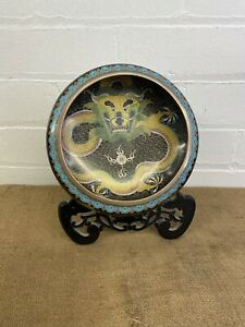 Superb Antique Chinese Cloisonne Brush Washer Bowl Imperial Dragon with Stand