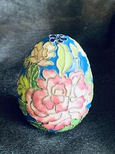 Beautiful Decorative Cloisonne Brass Easter Egg Gold w/ Flowers
