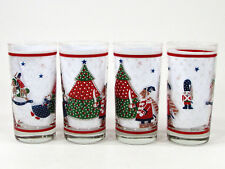 Noritake Epoch HOLIDAY JOY 12oz Glass Beverage Set 4 8200 Christmas Tumbler MIB