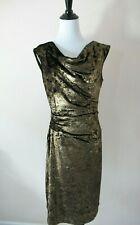 Vince Camuto Gold Black Velvet Stretch Sheath Sleeveless Cocktail Dress Size 12