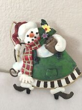 Snowman Polymer Clay over Tin Ornament Holding Flower Pot