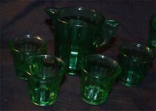 5 piece Children's Dishes Akro Agate Transparent Green depression glass set