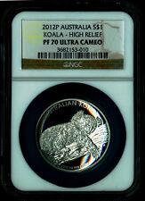 High Relief 2012 P Proof $1 Silver Australia Koala 1 oz Coin PF70 Ultra Cameo
