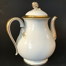 HAVILAND LIMOGES COFFEE POT SQUASH ACORN PATTERN RARE 1800'S COIN GOLD ACCENTS
