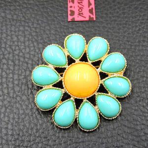 Woman's Betsey Johnson Exquisite Blue Enamel Opal Flower Charm Brooch Pin Gift
