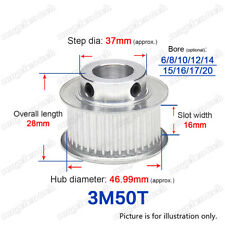 3M50T Timing Belt Pulley 50 Teeth Gear 6-20mm Bore 3mm Pitch for 15mm Wide Belt