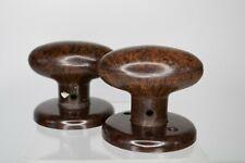 1920s Deco bakelite oval door knobs with backplates Everite speckled brown