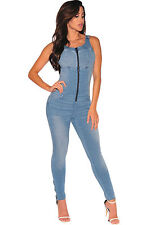 Abito tuta aderente jeans Zip Nudo Casual Mini Denim Zipper Jumpsuit Dress L