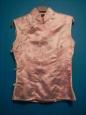 Rosa di raso, seta al tatto ORIENTALI CINESI Top Camicetta Camicia Gilet Cheongsam Alla Coreana