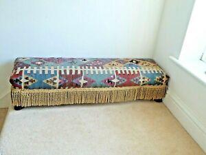 Vintage Antique Long (107cm) Kelim Upholstered Footstool With Tassel Fringe