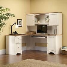 Sauder Harbor Office Furniture View Desk Hutch Antiqued White with Storage Shelf