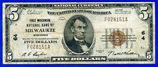 --Rare 1929 $5 N/C (( Milwaukee )) Brown Seal # F028151A