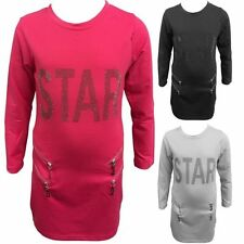Girls' Crew Neck Long Sleeve Sleeve Cotton T-Shirts, Top & Shirts (2-16 Years)