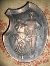 Vintage , Old Bronze Ashtray Soldier with women