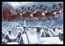 671-GC Parker Fulton DEER SANTA Unused Vintage Christmas Greeting Card