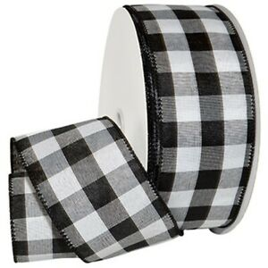 """Black White Checked Cambridge Solid Woven 2.5"""" Wide Wired Ribbon 50 yards NEW"""