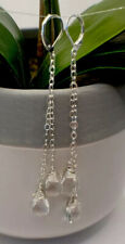 Wrapped Quartz Crystal Earrings Handmade Sterling Silver Wire