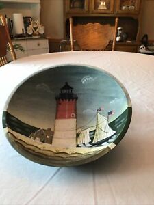 Vintage Wooden Hand Painted Bowl with Scene of Lighthouse, Sail Boat At Sea