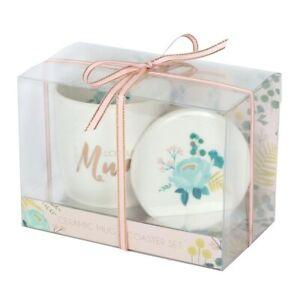 Floral White Ceramic Loveliest Mum Mug & Coaster Mother Day Tea & Coffee Gift