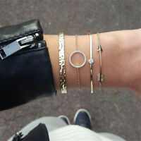 4 Pcs Fashion Simple Arrow Crystal Opening Bracelet Set Women Bangle Jewelry NEW