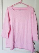 NWT Talbots Woman Pink Knit Top Shirt Sz 1x Fringe Hem