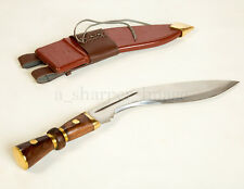 "Gurkha Kukri 17"" Combat Knife Brown Leather Sheath + Brass Fittings Massive"