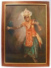 LARGE BALI INDONESIA OIL - PITJA - LEGONG DANCER c1950 - SIGNED
