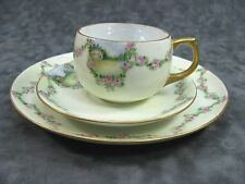 E. Walker China 3 Piece Set Cup Saucer Plate ~ Mint Green Floral Garland Cottage